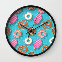 Poolparty doughnuts, pretzel,lollies Wall Clock