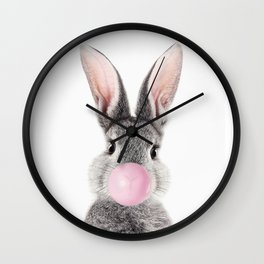 Bunny With Bubble Gum Wall Clock