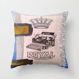 Vintage Royal Typewriter Mixed Media Throw Pillow