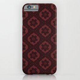 Dark red Moroccan floral with dots iPhone Case
