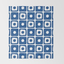 Mid Century Square Dot Pattern Blue Throw Blanket