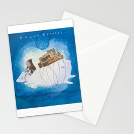 Big Polar Bear delivers gift packages like a Courier - Painting by Lisa Rotenberg Stationery Cards