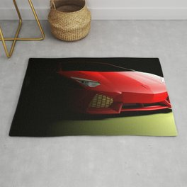 Red sport supercar isolated on black background - 3D rendering illustration Rug