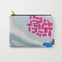 """launched"" abstract painting in fresh colors gray, white pink and mint by Carry-All Pouch"