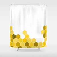 honeycomb Shower Curtains featuring Honeycomb by KelC