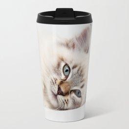Blue Eyed Kitty Cat Travel Mug