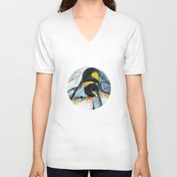 penguins V-neck T-shirts featuring Penguins by James Peart