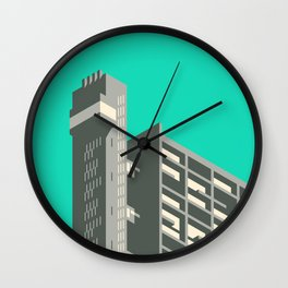 Trellick Tower London Brutalist Architecture - Turquoise Wall Clock