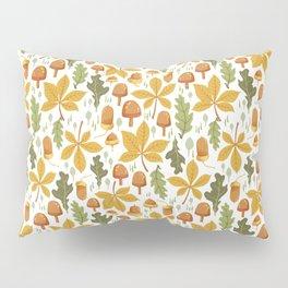 Autumn Forest Floor Pattern - White Pillow Sham