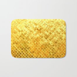 Give me Gold: festive, golden, fashionable, 3-d, glittery, Christmas, cheerful, lattice design Bath Mat