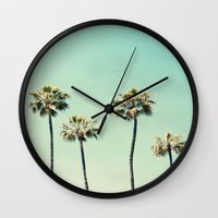 beach Wall Clocks featuring Palm Trees  by Bree Madden
