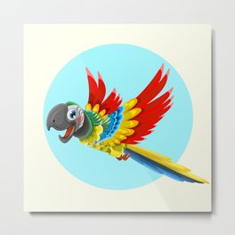 Happy colorful parrot cartoon Metal Print