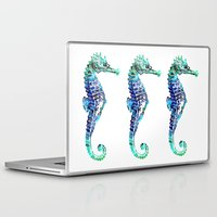 sea horse Laptop & iPad Skins featuring Sea Horse by LebensART