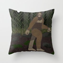 Bigfoot in the Forest Throw Pillow