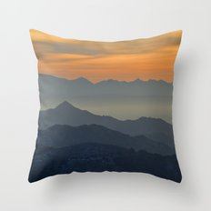 Sunset at the mountains Throw Pillow