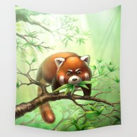 red panda Wall Tapestries featuring Red Panda    by Antracit