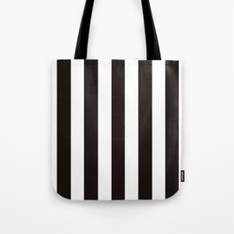 Licorice black - solid color - white vertical lines pattern Tote Bag