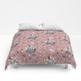 Mushroom Pickers - Lady Woodpecker Comforters