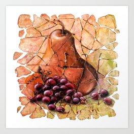 Pear & Grapes Fresco Art Print