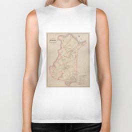 Vintage Map of Brighton MA (1885) Biker Tank