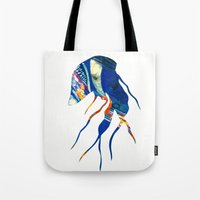 jelly fish Tote Bags featuring Jelly Fish by Ingrid Holborn