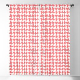 PreppyPatterns™ - Modern Houndstooth - White and Coral Pink Blackout Curtain