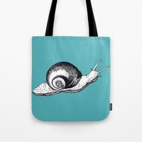 snail Tote Bags featuring Snail by Aubree Eisenwinter