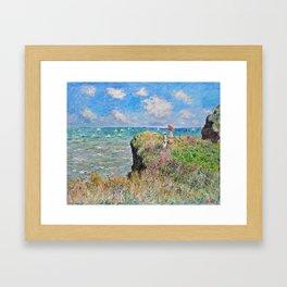 Claude Monet Cliff Walk At Pourville 1882 Framed Art Print