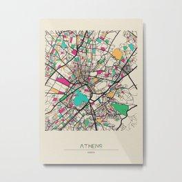 Colorful City Maps: Athens, Greece Metal Print