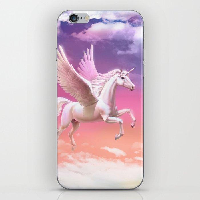 Flying unicorn at sunset iPhone Skin