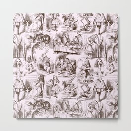 Alice in Wonderland | Toile de Jouy | Brown and Pink Metal Print