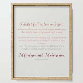 I'd choose you 4 #quotes #love #minimalism Serving Tray