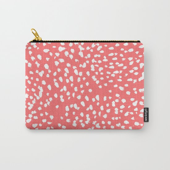 Claudia - abstract minimal coral dot polka dots painterly brushstrokes Carry-All Pouch