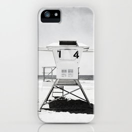Black and White Beach Photography, Grey Lifeguard Stand, Gray Coastal Nautical Art iPhone Case