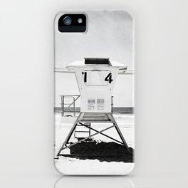 Black and White Beach Photography, Grey Lifeguard Stand, Gray Coastal Nautical Art iPhone Case