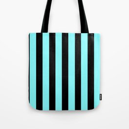 Turquoise and Black Stripes Tote Bag