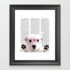 Dog with glasses Framed Art Print