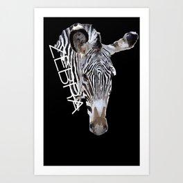 Zebra head Art Print