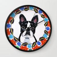 boston terrier Wall Clocks featuring Boston Terrier  by Lorraine Stylianou