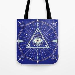 Evil Eye Mandala – Navy Tote Bag