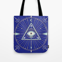 Evil Eye Mandala – Navy Tote Bag