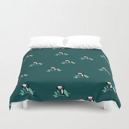 Paradise bird tropical toucan jungle illustration design teal Duvet Cover