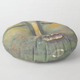 Rusty Golden Buddha Face - Zen and Balance Watercolor Painting Floor Pillow