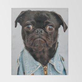 Cute Black Dog - Face Portrait Throw Blanket