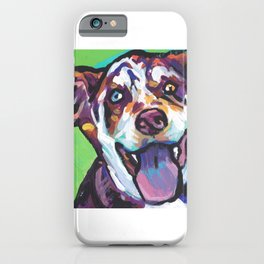 Fun Catahoula Leopard Dog bright colorful Pop Art painting by Lea iPhone Case