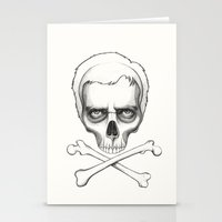 house md Stationery Cards featuring Everybody Dies - House MD Skull Crossbones by Olechka