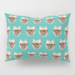 Pomeranian dog breed hipster glasses intellectual dog lover with personality Pillow Sham