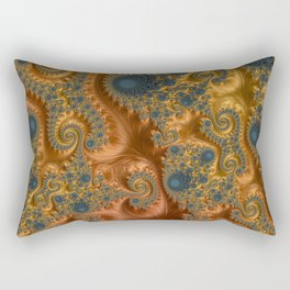 Copper Leaves-Teal  Rectangular Pillow