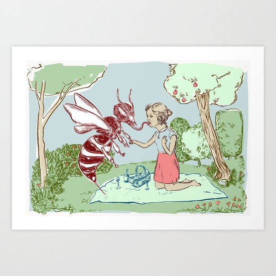 The Young Girl and the Bee Art Print
