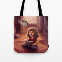 bookworm Tote Bags featuring Little Bookworm by Svenja Gosen